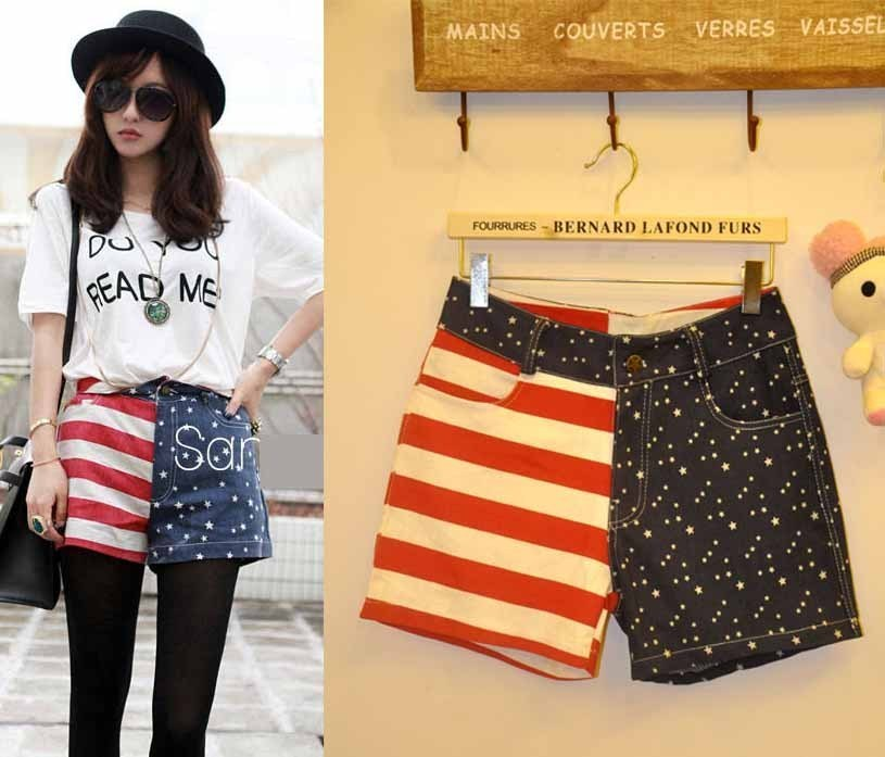 Free Shipping 2012 Fashion flag patchwork denim shorts USA Flag Patchwork Jeans Pants (Average)121010#9