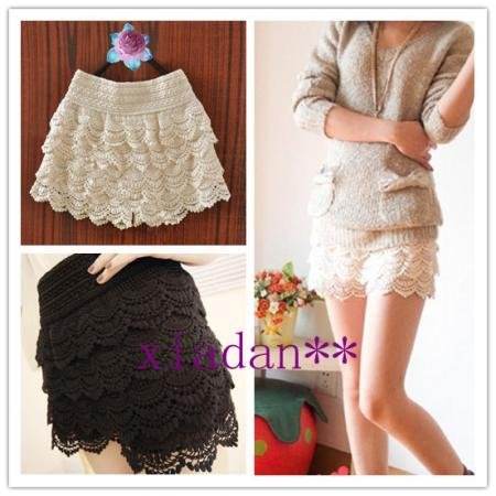 Free Shipping 2012 Fashion Lace Tiered Short Skirt Under Safety Pants Shorts