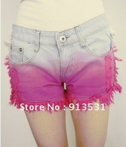 Free shipping 2012  Fashion  Personality   tie-dyed gradient   denim shorts XS-L