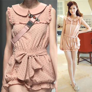 Free Shipping 2012 Fashion sweet juniors print chiffon ruffle lantern jumpsuit Summer Women Pants(Pink+Beige+Green)120924#8