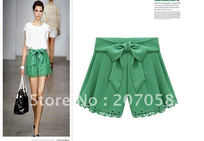 Free shipping 2012  fashion wind cutout scalloped high waist bow candy color shorts