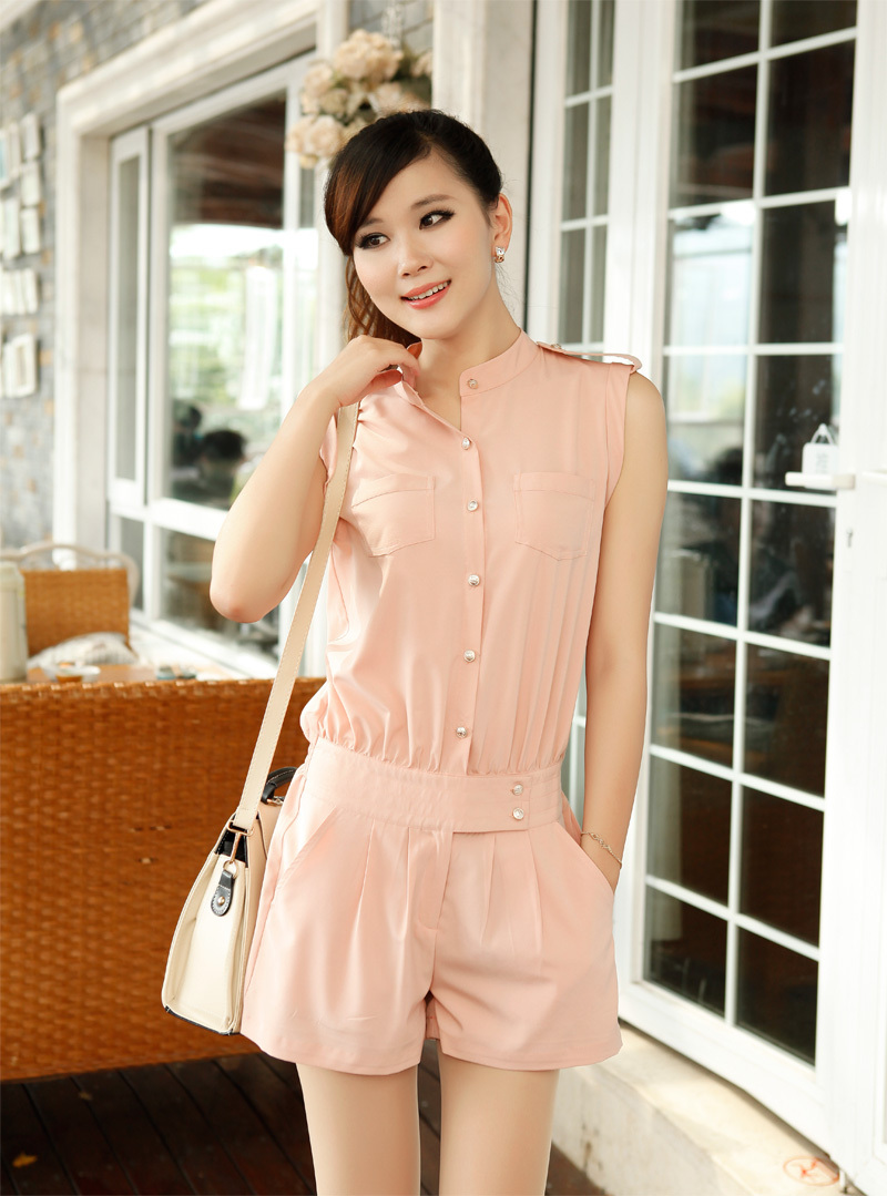 free shipping 2012 Fashion Women Sleeveless Romper Short Jumpsuit Casual Jump suit pants, women dress retail and wholesale