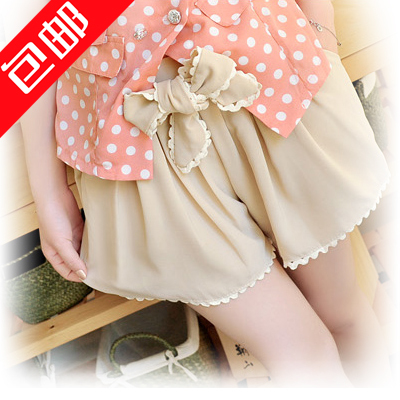Free Shipping! 2012 Fashion Women Summer Preppy Style Bow Belt Culottes Beach Pants Lace Picot Edges Shorts P0632#