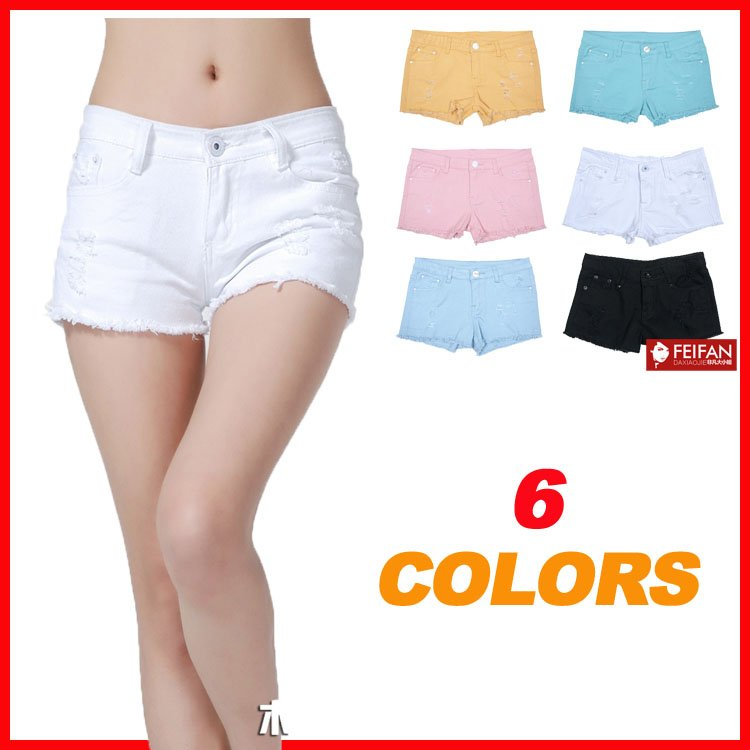 Free Shipping! 2012 Fashion Womens Hole Denim Shorts Summer Hot Short Pants 6 Colors P0631#
