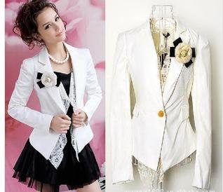 Free shipping!2012 formal women slim lace Jackets,  Elegant  coat ,one button women blazer,causul women suit  +Bust flowers
