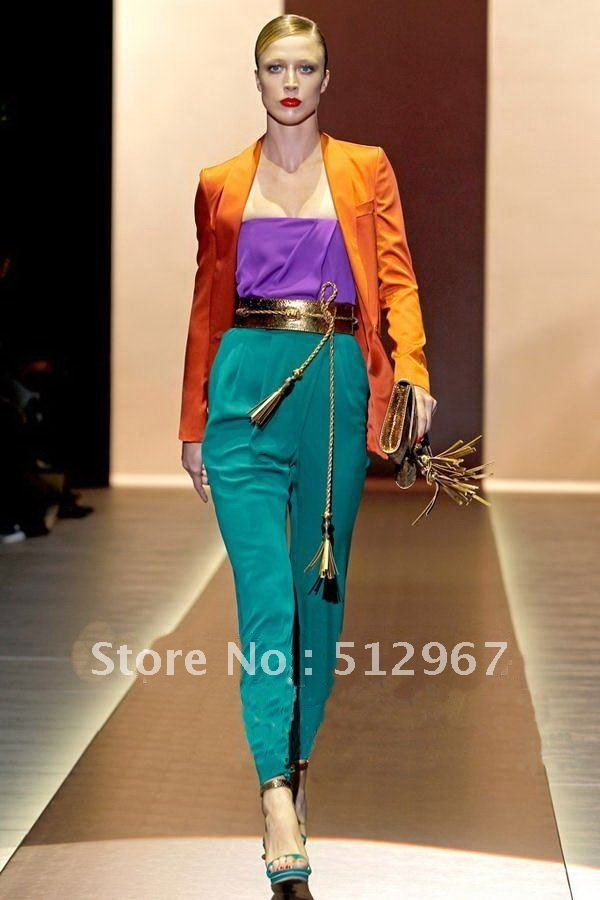 Free Shipping 2012 High Fashion Paris' Modern LUXURIOUS Colorblocked Tube Tops+Pants Stylish Clothing Sets SS12154