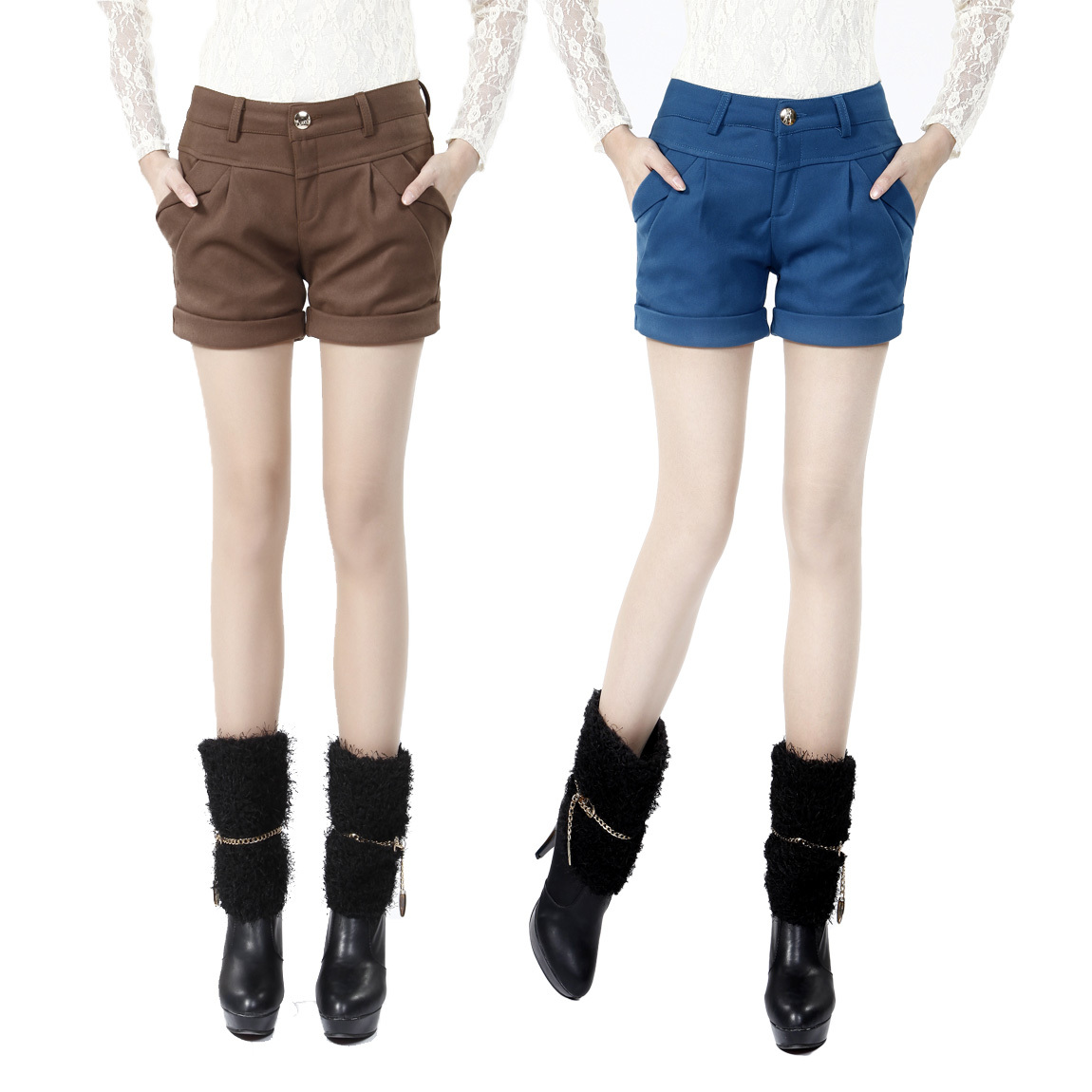 Free Shipping  2012 Hitz Korean version of the candy-colored was thin curling ladies woolen shorts