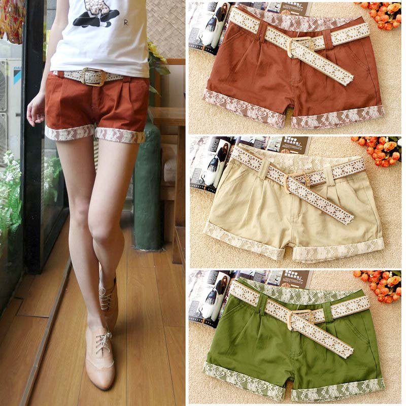 Free Shipping 2012 Korean version of fashion lace casual shorts (Free Belt)/women's short/4 colors/Wholesale/Retail