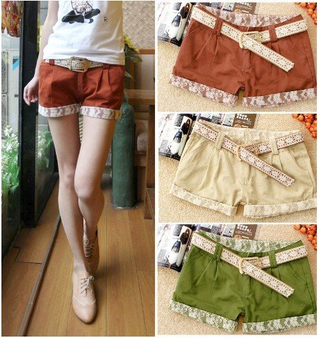 Free shipping,2012 Lace Decoration Fashion Ladies  Short Pants With Belt#21D5