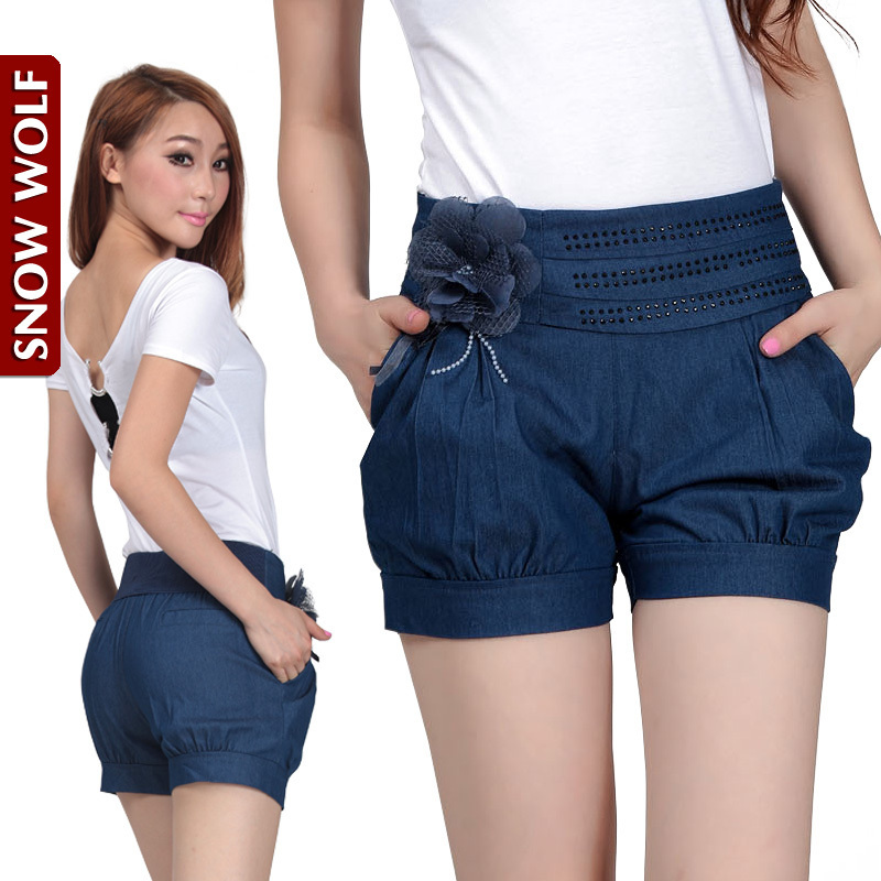 Free Shipping! 2012 Loose Thin Appliques Beading Waist Cotton Denim Harem High Waist Shorts Plus Size M/L/XL/2XL/3XL P0648#