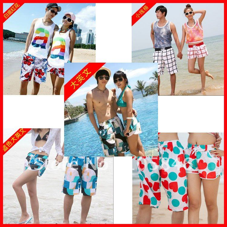 Free Shipping! 2012 Lovers' Clothing His-and Her Clothes Board Shorts Quick-drying Beach Shorts Plus Size 30 Pattern M0061