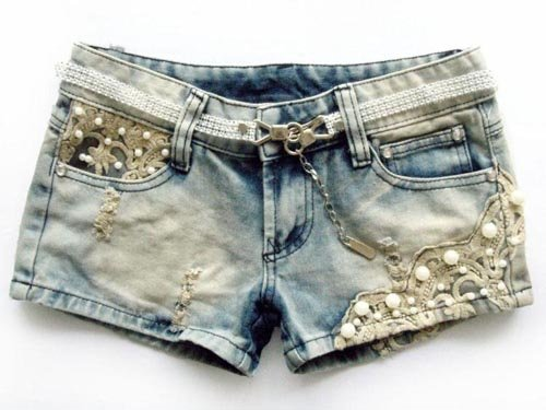 Free shipping 2012 Low Waist Lace Beading Hole Denim Shorts/Short pants Wholesale