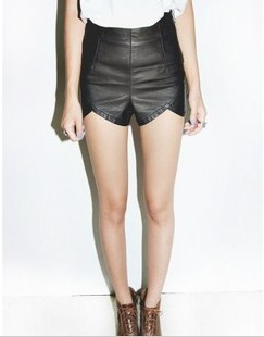 Free Shipping 2012 New arrival autumn slim leather shorts High Quality Hot Pants(Black+S/M)121001#8