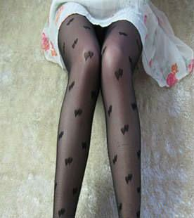 Free Shipping, 2012 New Arrival Double Heart Fishnet Stocking, Tight Black Panty Hose, PH037