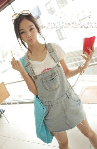 Free Shipping 2012 New Arrival Fashion Women Jean Overalls Jumpsuit Denim Frayed Short Skirt Pants