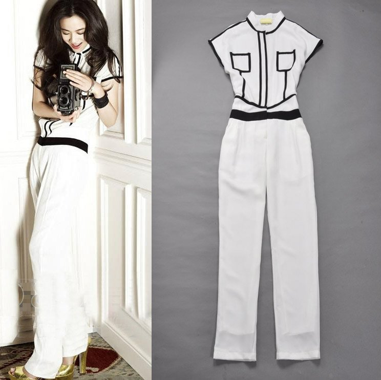 Free Shipping 2012 New Arrival High Fashion SS12240 White/Black Colorblocked Women Jumpsuits/Romper Celebrity Vintage Jumpsuit