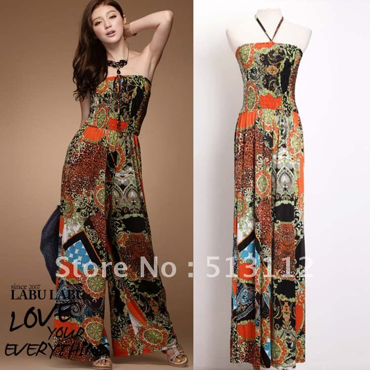 Free Shipping 2012 New Arrival Off Shoulder Halter Jumpsuit Fashion Totem Printed Long Pants KZ0001