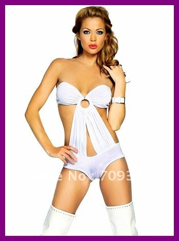 Free shipping 2012 New arrivel Slinky Tube White Mini Romper Wholesale 15pcs/lot PU Women sexy underwear Teddy lingerie 3050-1