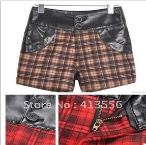 free   shipping   2012 new autumn and winter fashion all-match Plaid Wool PU splicing, boots pants shorts   b289 ow