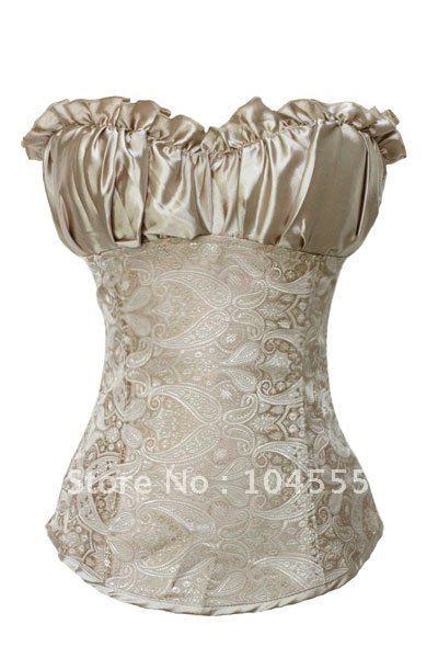 Free shipping 2012 New Corset lingerie Creamy Lvory Renaissance Corset Top Wholesale Overbust Steel bone corset