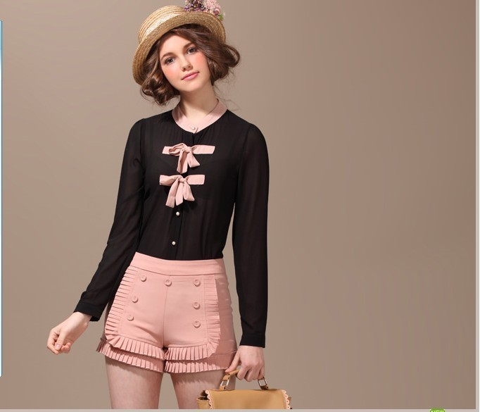 Free Shipping 2012 New Fashion Button Ruffles Shorts Button Decoration All-match Pure shorts(Average)120921#28
