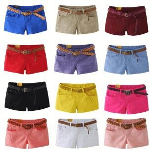 Free Shipping / 2012 New fashion Candy color jeans shorts / women's short / S-XXL / 19 color / lady's hot pants / Wholesale
