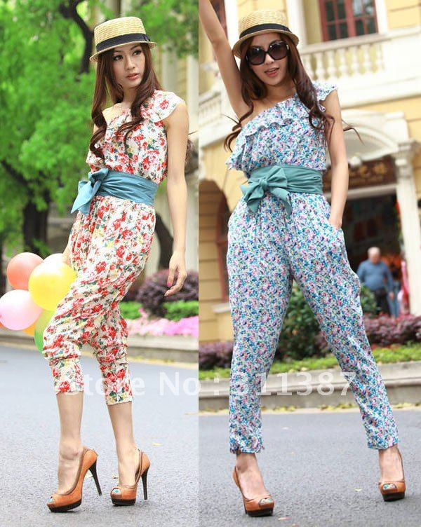 Free shipping,2012 New fashion Falbala inclined shoulder nine points Floral Jumpsuit/Rompers,Teddy women RS01028