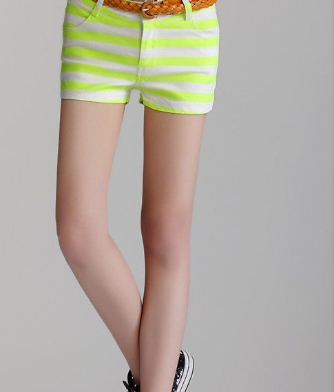 Free Shipping  2012 New Fashion Korean Style Candy Color Shorts Women Cross Striped Cotton Shorts