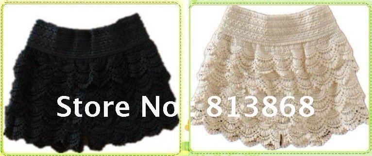 Free shipping 2012 NEW Fashion Lace Tiered Short Skirt Under Safety Pants Shorts Black  beige