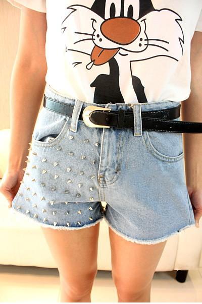 Free Shipping 2012 New Fashion Punk High Shorts Women Rivet Jeans Shorts Denim Frayed Shorts