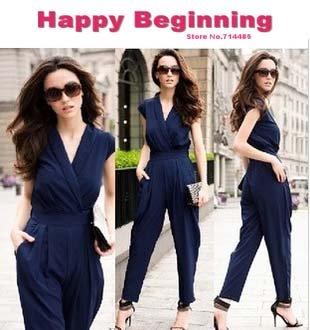 Free shipping 2012  New Fashion summer Rompers V-neck Sleeveless Slim fitting Women Jumpsuit plus sizes 3 Colors black AM5999