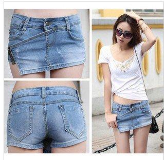 FREE SHIPPING 2012 New Fashion Summer Women Jeans Skirts ,  Side Zipper ,Blue Denim Short Skirt
