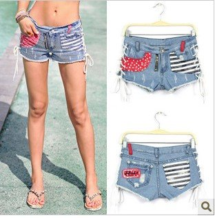 Free Shipping #2012 new fashion woman hit color sexy bandage denim shorts / hot pants K9285