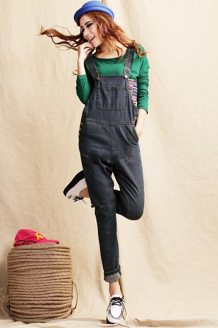 Free Shipping 2012 New Fashion Women Loose Jeans Denim Jumpsuit Overalls Pants For Women
