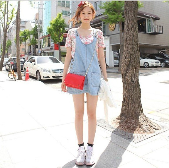 Free Shipping 2012 New Fashion Womens Light Blue Jumpsuit Denim Jean Vest Overalls
