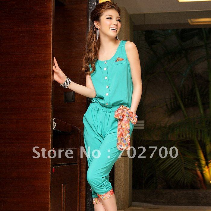 Free Shipping!2012 New Fresh summer single breasted solid color collision Floral fit chiffon jumpsuit CH3416 Plus size