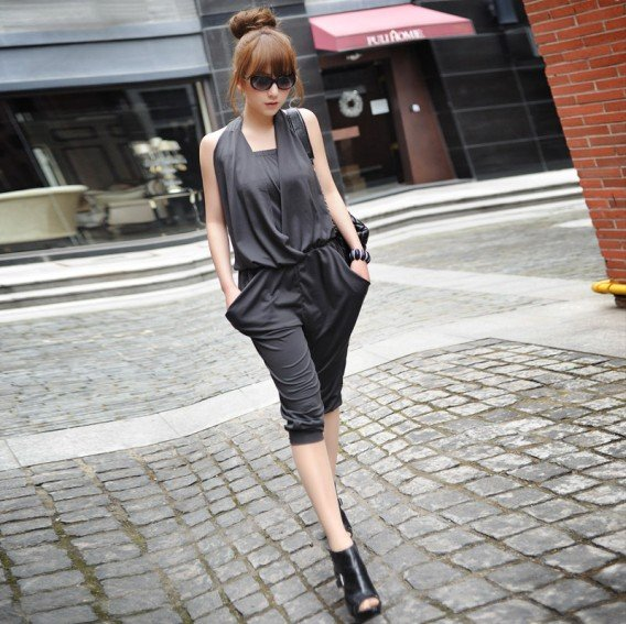 Free shipping/2012 new/High-quality goods/low back / 7 points conjoined twins trousers/blue gray/dress/Jumpsuits/RG1205001