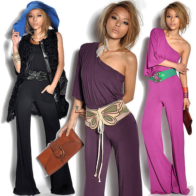 Free shipping/2012 new/Ice silk/Europe and America/big/inclined shoulder/conjoined twins pants/dress/Jumpsuits/