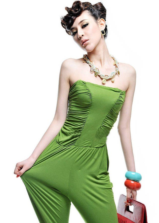 Free shipping/2012 new/Milk silk/beautiful/candy color/sexy/wiping a bosom/conjoined twins trousers//Jumpsuits/RG1205010