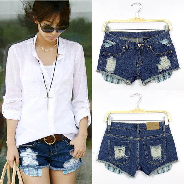 Free Shipping 2012 New Summer Fashion Women Jeans Shorts Hole Denim Short Pants