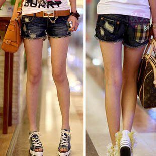 Free Shipping  2012 New summer plaid decorative denim shorts/ women's jeans/women shorts/Wholesale/Retail