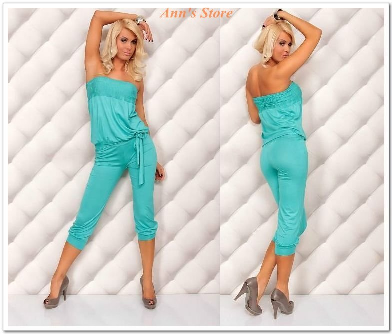 FREE SHIPPING! 2012 New Women Fashion Sleeveless Rompers,Sexy Backless Short Jumpsuit,Ann4005-5,Blue