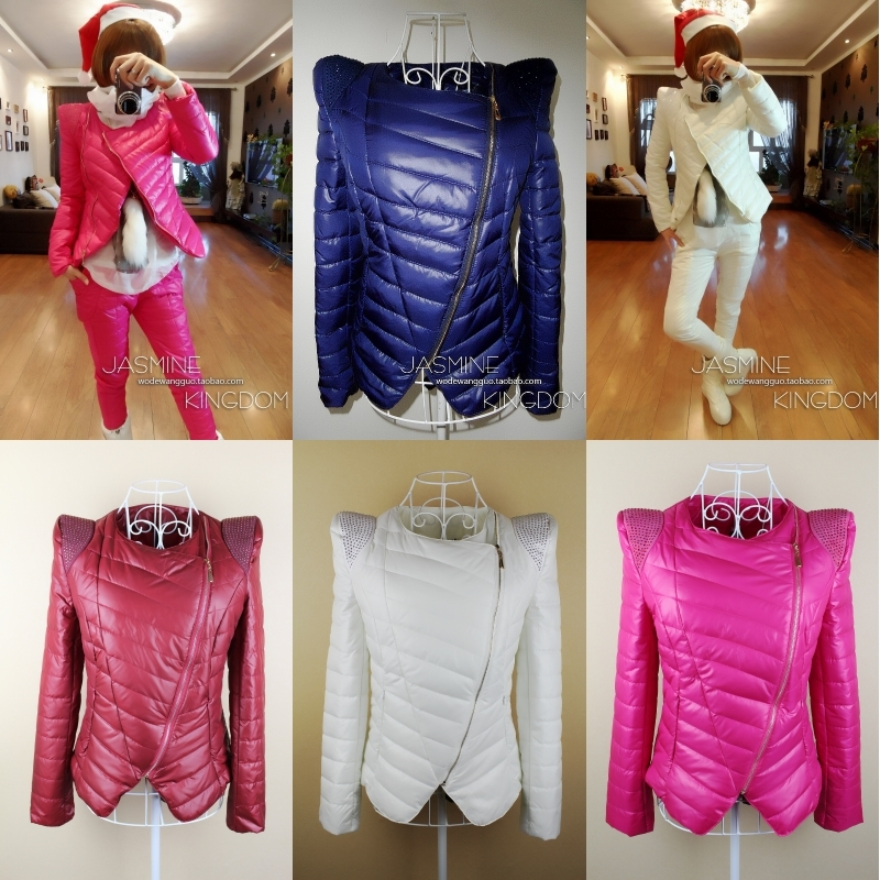 Free shipping 2012 new women's autumn and winter  slim short design  candy color cotton-padded jacket fashion ladies'  outwear