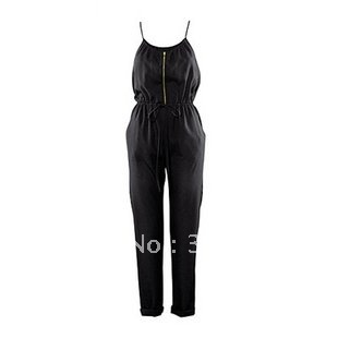 Free Shipping 2012 Newest Leisure style women's beautiful Jumpsuits  Wind straps Harlan waist Design