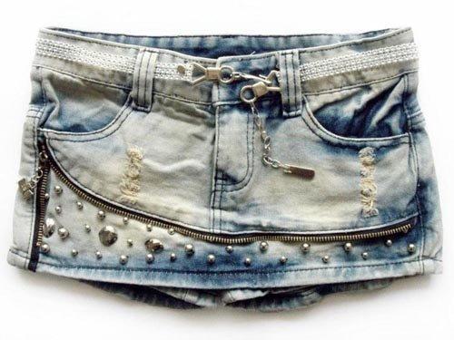 Free Shipping 2012 Rivets Ornament Pant Skirt Denim Two Color Slip Zipper Short Pants Wholesale WF13010713