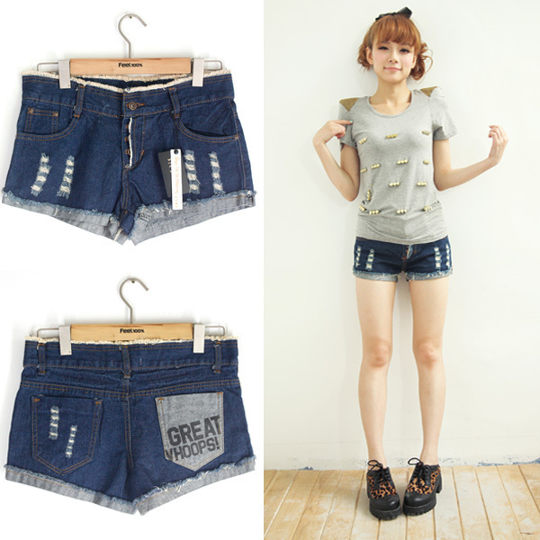 Free shipping 2012 roll up hem distrressed letter pocket decoration moben buckle denim shorts 09967 MYYH
