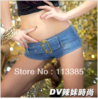 Free shipping/ 2012 slim belt bottom waist sexy low-waist denim shorts for women,night club dance denim jeans