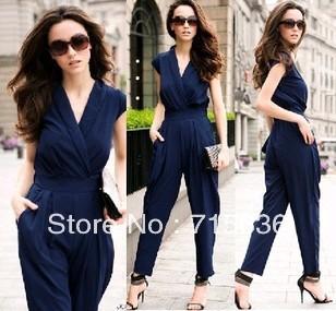 Free shipping !2012 Slim Women Fashion Romper long Jumpsuit Scoop 3 Colors black/red/deep blue