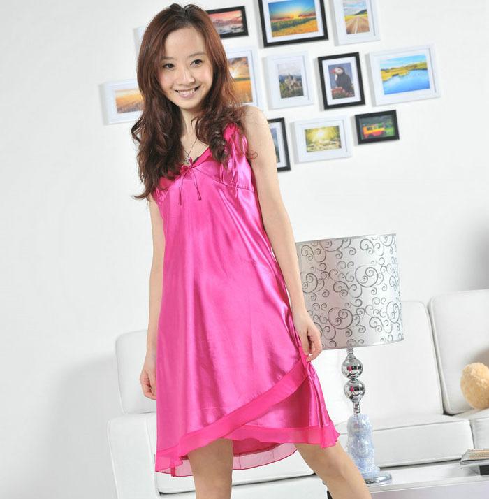 Free shipping 2012 spaghetti strap sleeveless faux silk mulberry silk female sexy nightgown sleepwear lounge