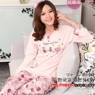 Free shipping 2012 spring and autumn cartoon cat women's 100% cotton long-sleeve sleep set lounge